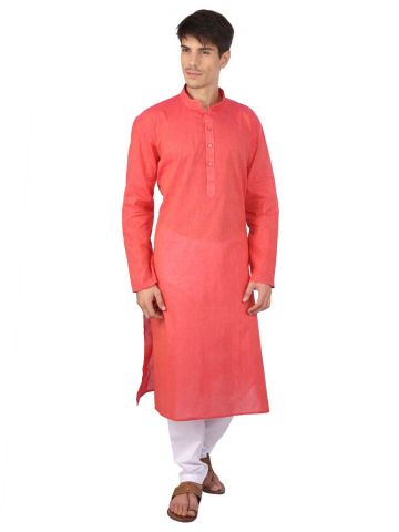 Light Red Cotton Long Kurta