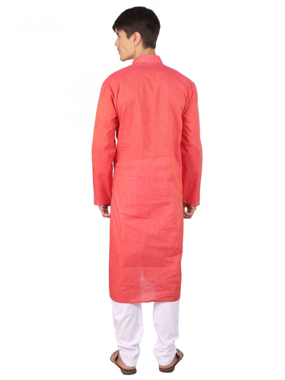 Rajubhai Hargovindas  Light Red Cotton Long Kurta