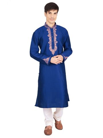Blue Silk Mens Kurta Churidar