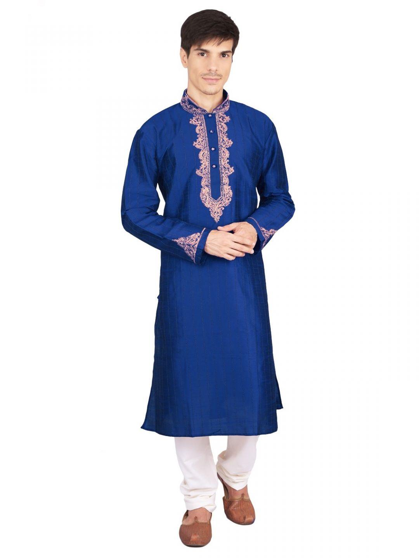 Blue Silk Mens Kurta Churidar