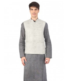 Cream Jute Nehru Jacket