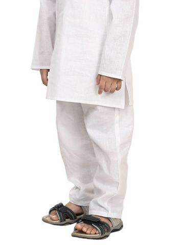 Kids White Cotton Pyjama