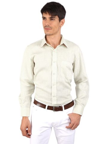 JAPs Cream Green Pure Linen Shirt