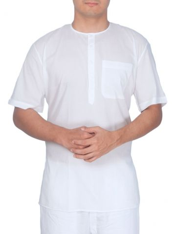 Kids White Cambric Cotton Short Kurta (Half Sleeve)