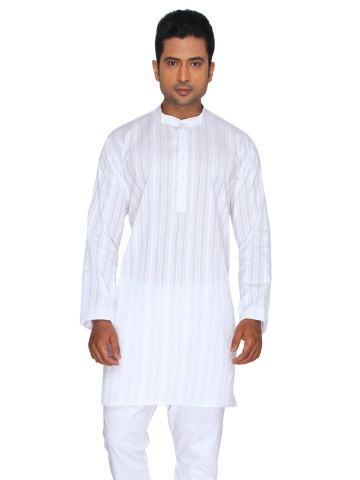 White Self Striped Cotton Kurta (Stand Collar)
