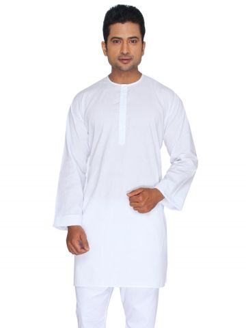 White Cotton Lawn Kurta (Round Collar)