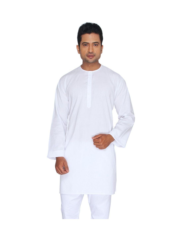 White Cotton Lawn Kurta (Round Collar)