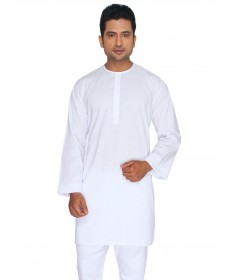 White SuperFine Cotton Kurta (Round Collar)