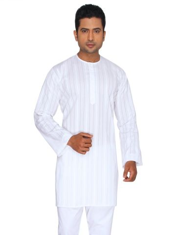 White Self Striped Cotton Kurta (Round Collar)