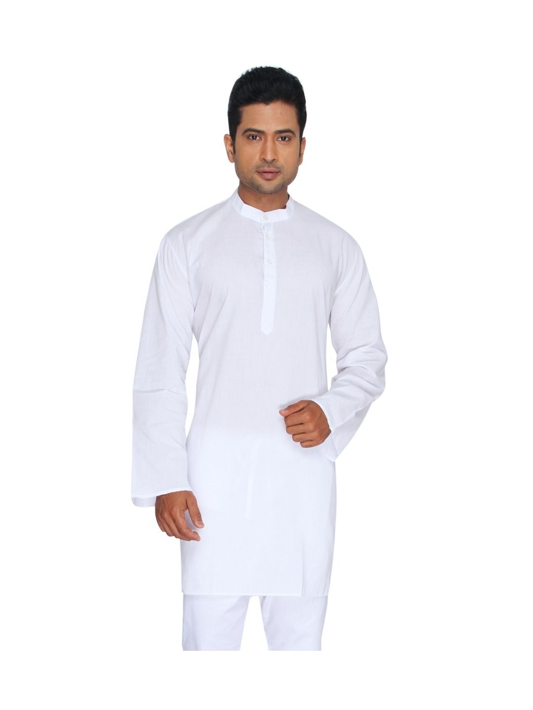White SuperFine Cotton Kurta (Mandarin Collar)