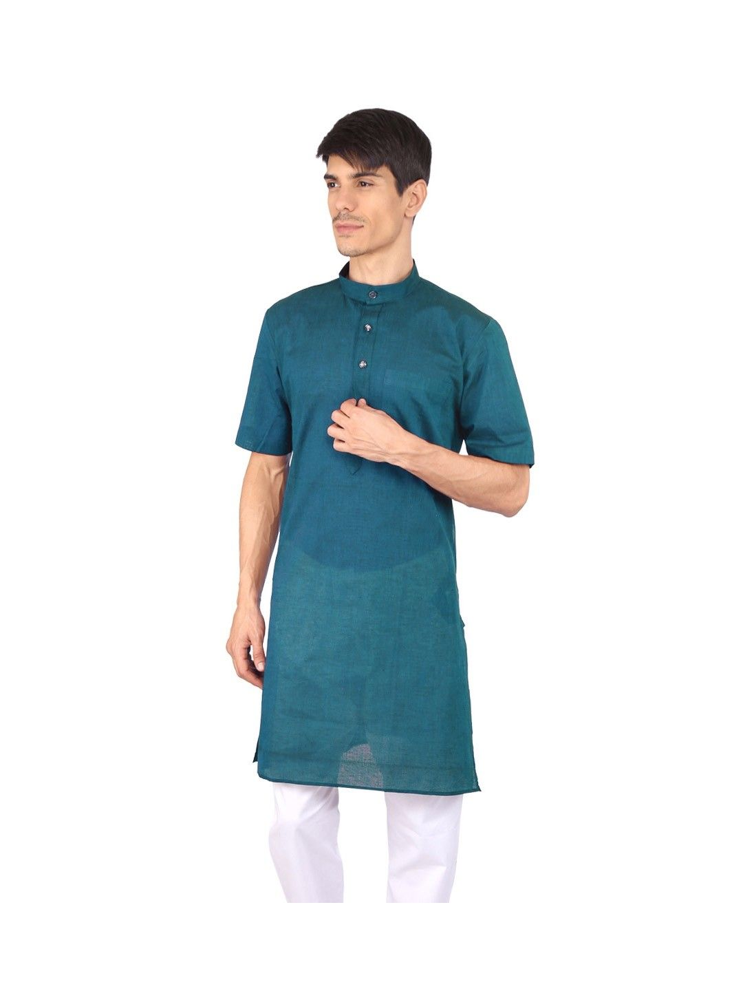 Orange Half Sleeve Cotton Kurta