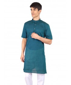 Peacock Blue Half Sleeve Cotton Kurta
