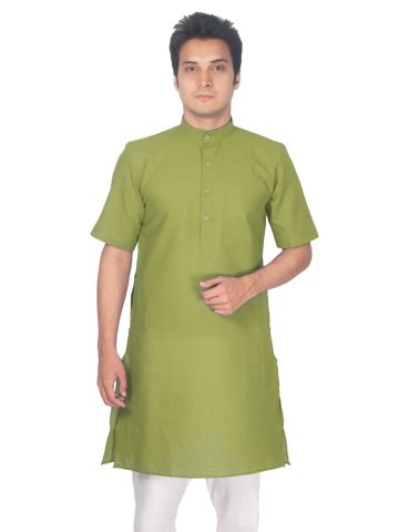 Green Tussar Cotton Kurta (Half Sleeve)