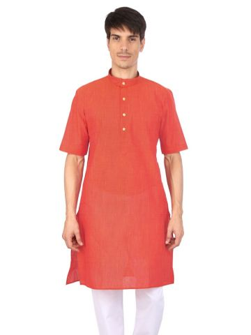 Red Slub Half Sleeve Cotton Kurta
