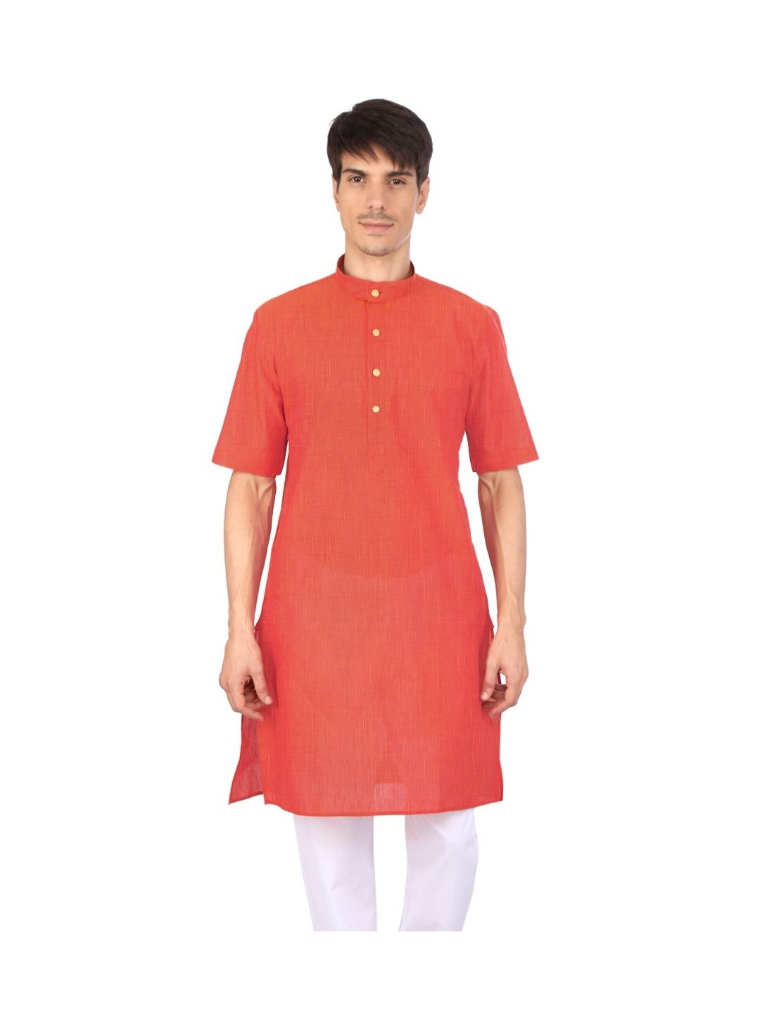 Red Orange Half Sleeve Cotton Kurta