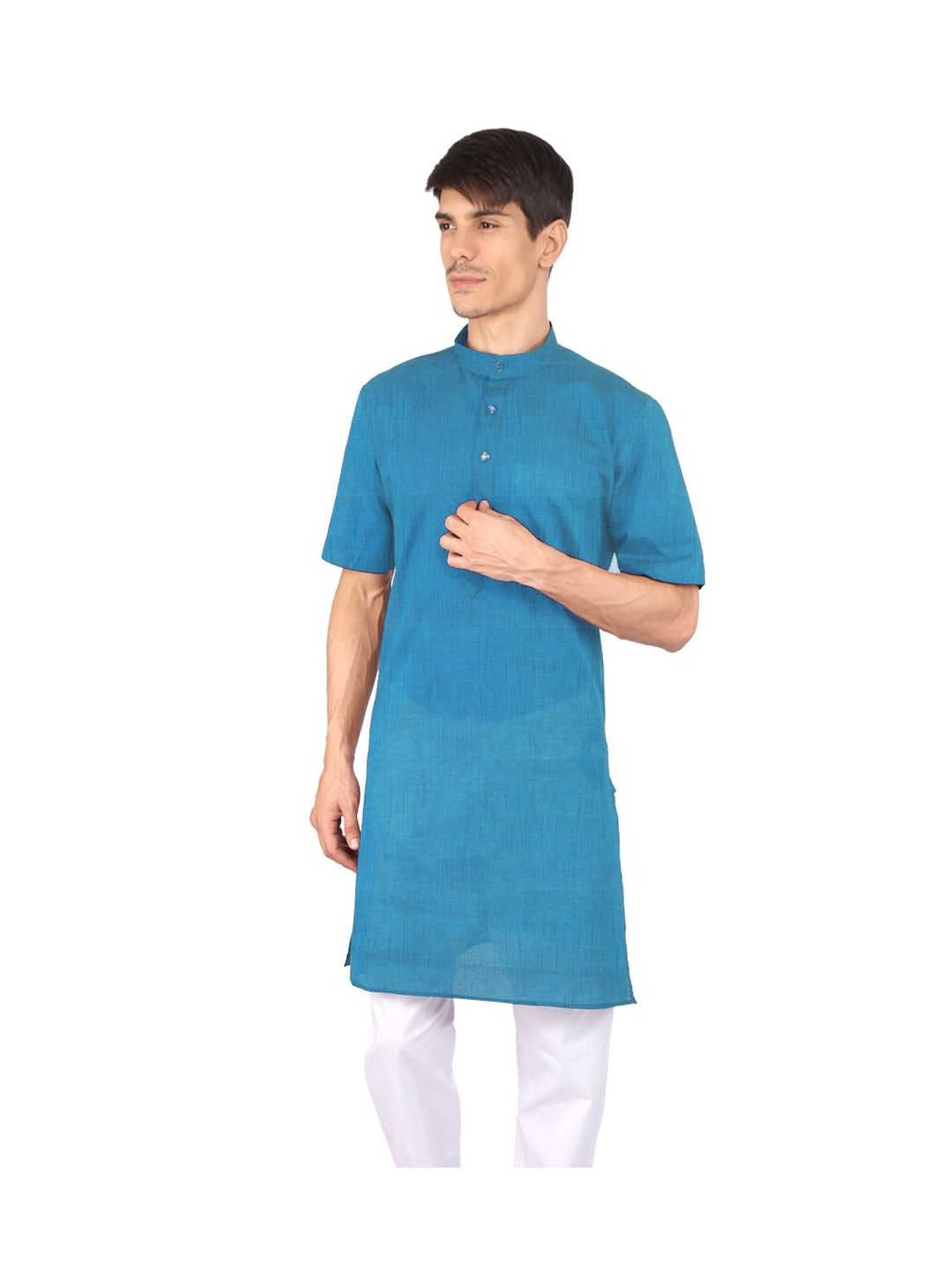Blue Half Sleeve Cotton Kurta