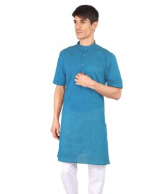 Blue Slub Half Sleeve Cotton Kurta