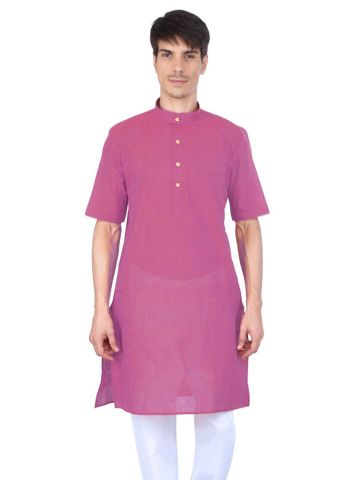 Pink Slub Half Sleeve Cotton Kurta