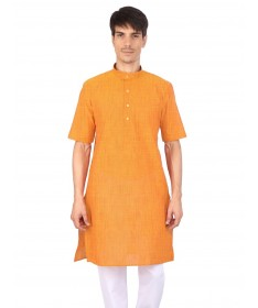 Yellow Slub Half Sleeve Cotton Kurta