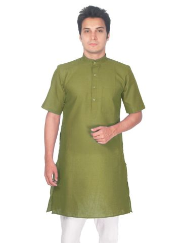 Sap Green Tussar Cotton Kurta (Half Sleeve)