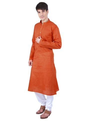 Orange Woven Cotton Kurta