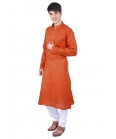Orange Woven Cotton Kurta
