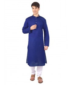 Navy Blue Woven Cotton Kurta