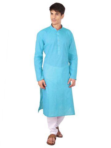 Sky Blue Woven Cotton Kurta
