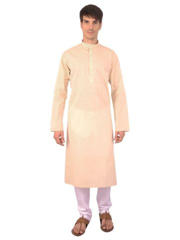 Cream Woven Cotton Kurta
