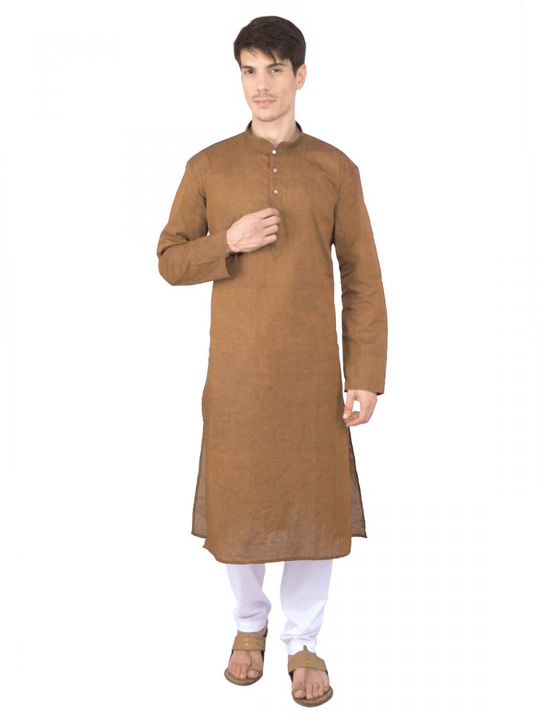 Light Brown Woven Cotton Kurta