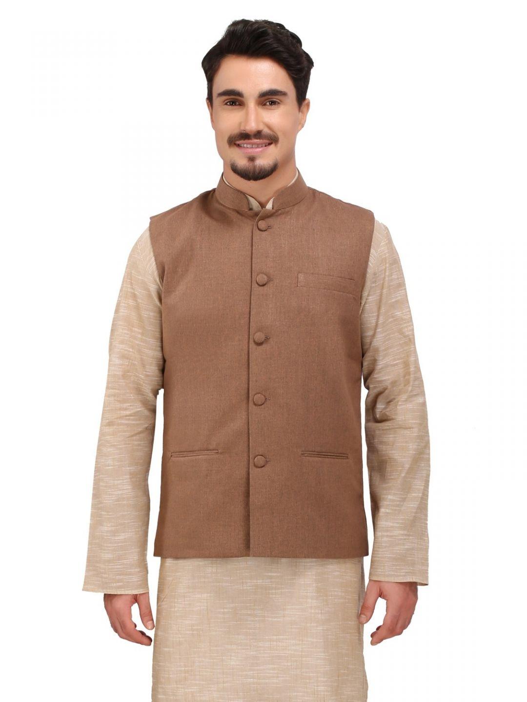 Brown Slim Fit Nehru Jacket
