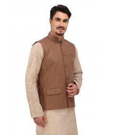 Brown Khadi Nehru Jacket