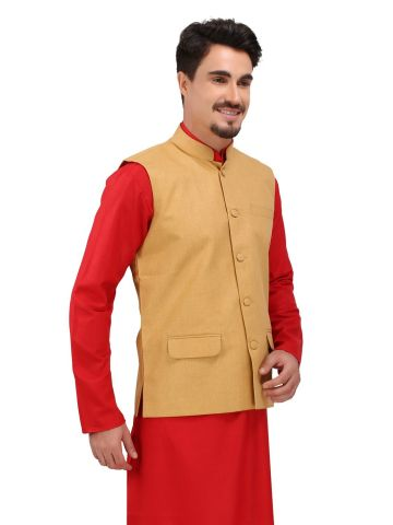 Yellow Khadi Nehru Jacket