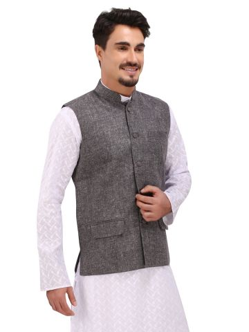 Dark Grey Khadi Nehru Jacket
