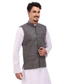 Dark Grey Khadi Nehru Jacket