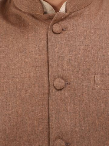 Brown Slim Fit Nehru Jacket