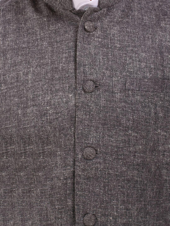Dark Grey Slim Fit Nehru Jacket
