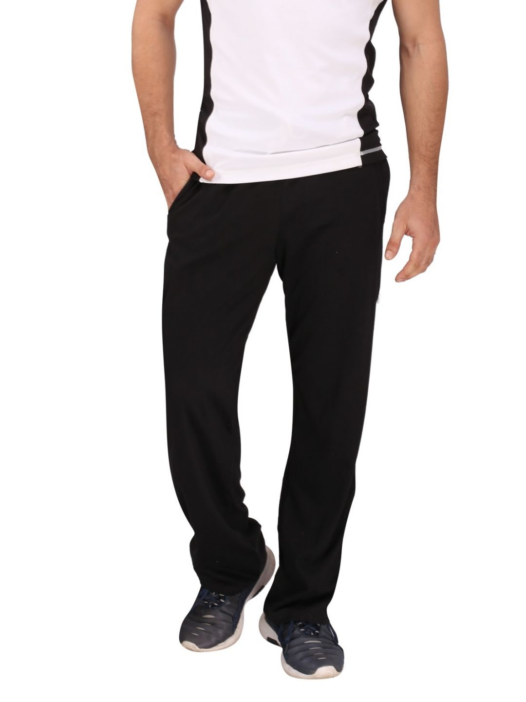 Black Cotton Trackpant White Stripes