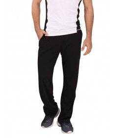 Black Cotton Track Pant (White Stripes)