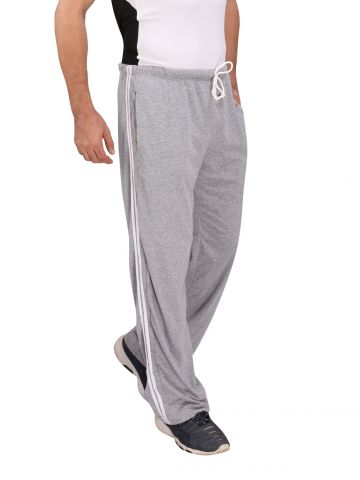 Grey Cotton Trackpants White Stripes
