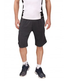 Charcoal Grey Cotton Shorts (Cream Stripes)