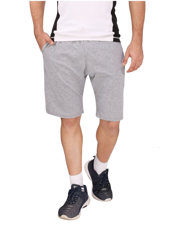 Light Grey Cotton Shorts (Cream Stripes)