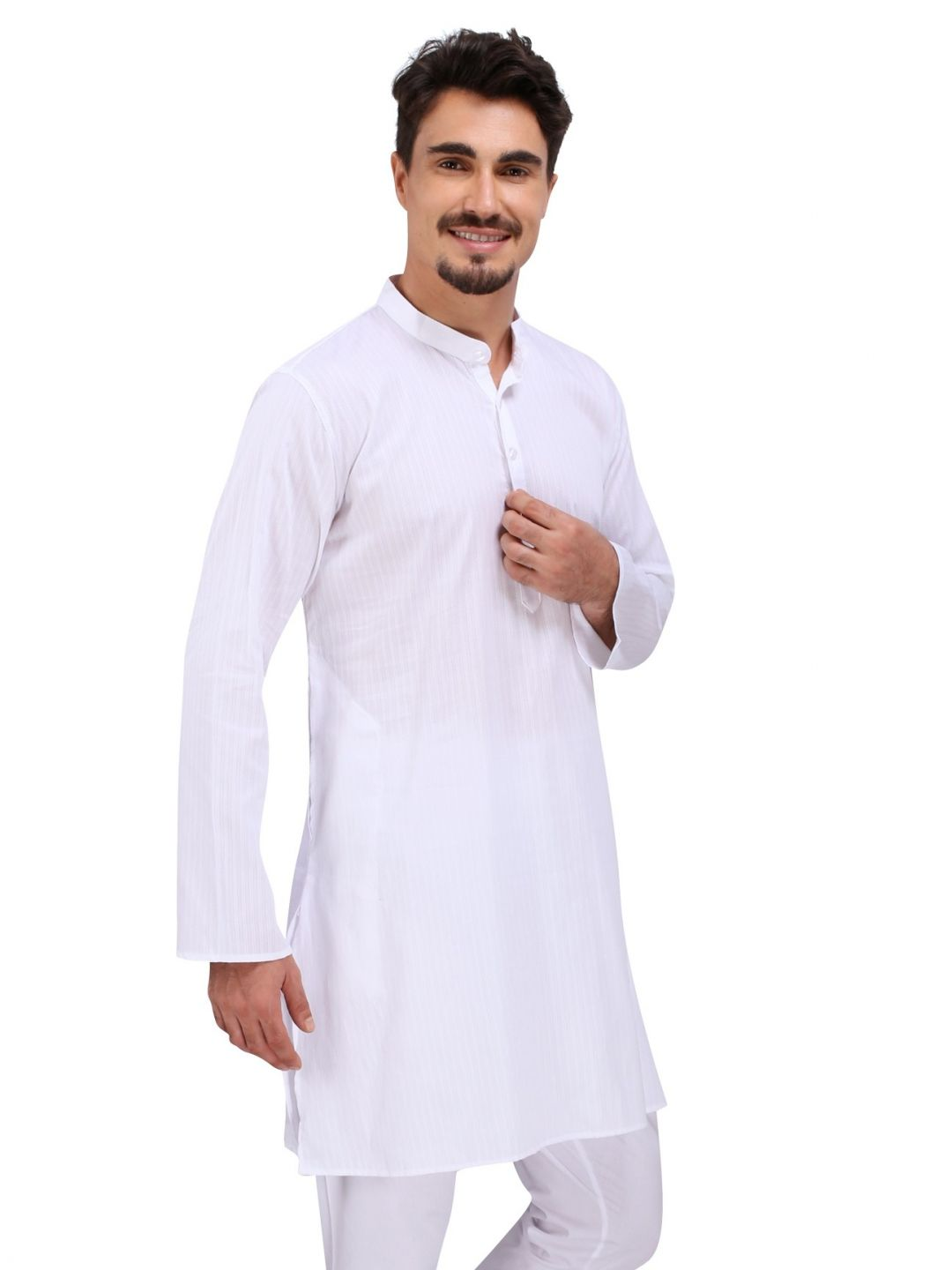 White Dobby Cotton Kurta (Stand Collar)