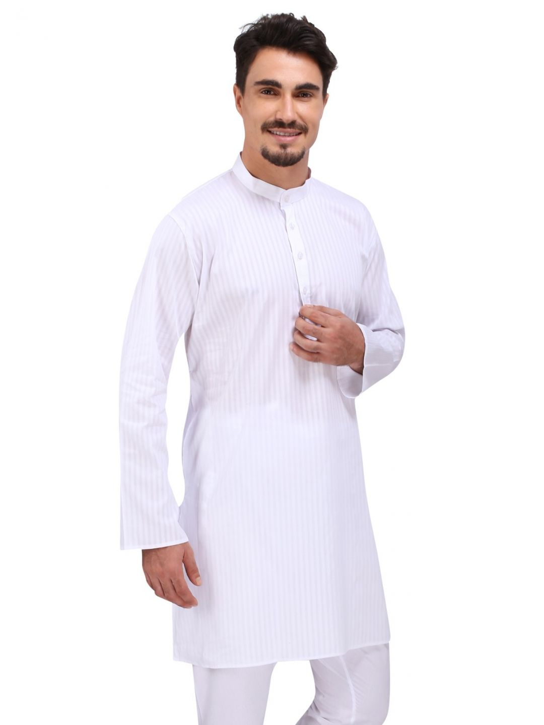 Stand Collar Kurta Designs : Kurta buy self striped mandarin collar white