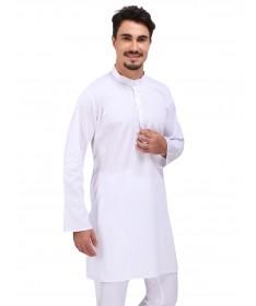 White Dobby Cotton Kurta (Stand Collar)