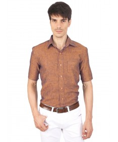 JAPs Rust Orange Pure Linen Shirt Short Sleeve