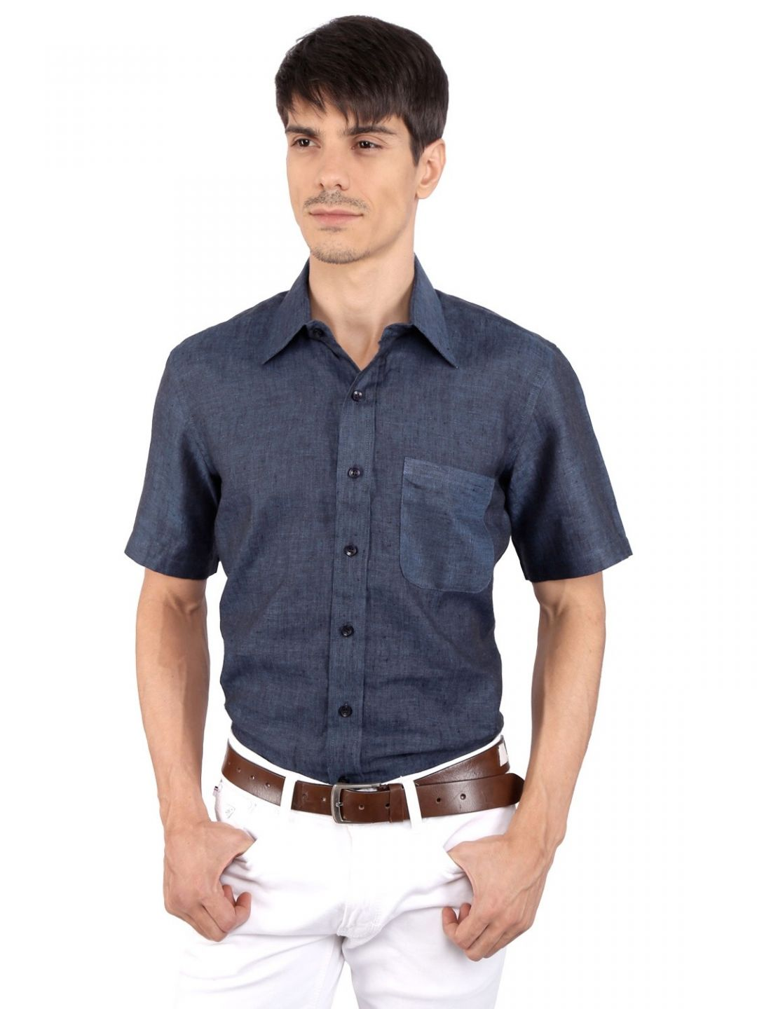 JAPs Navy Blue Pure Linen Shirt Short Sleeve