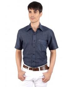 JAPs Navy Blue Pure Linen Shirt Short Sleeve