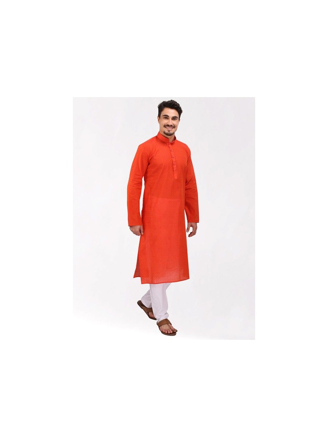 Orange Handloom Dobby Cotton Kurta