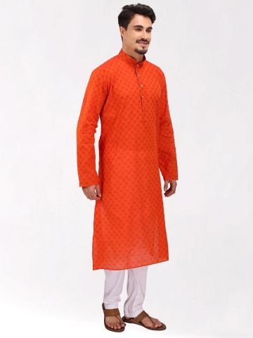 Orange Handloom Dobby Cotton Kurta